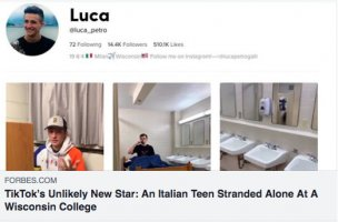Rimasto solo nel campus americano, Luca diventa una star diTikTok!